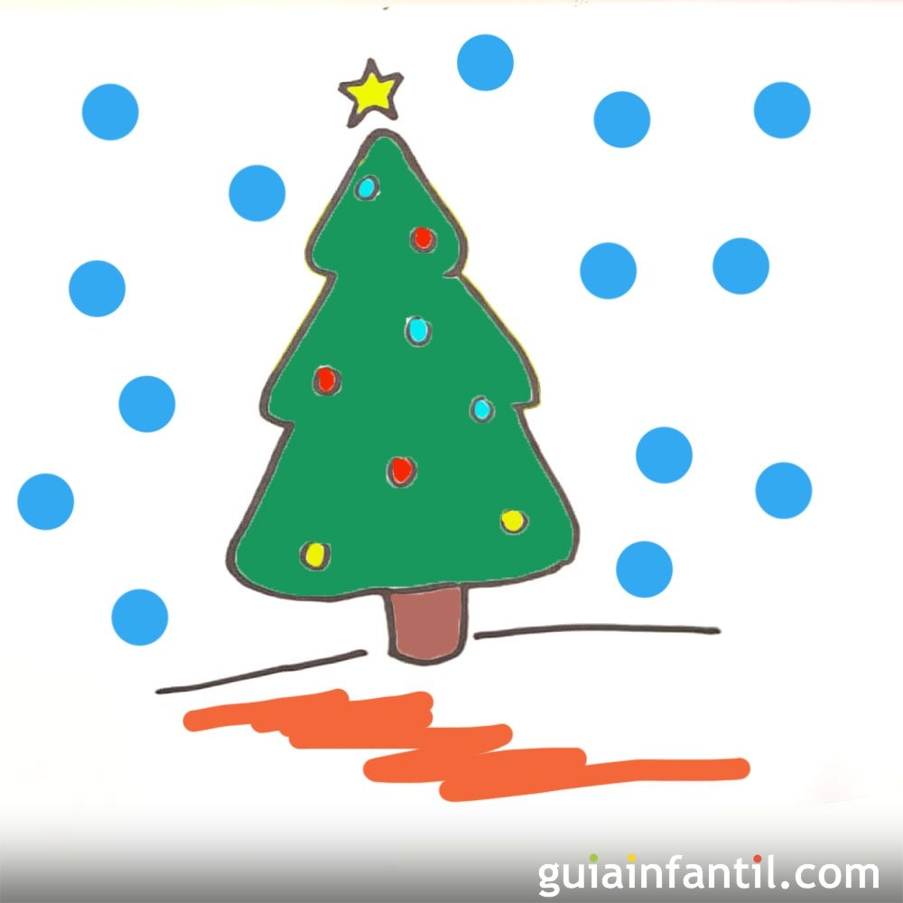 C mo dibujar un rbol de navidad paso a paso - Arbol de navidad infantil ...