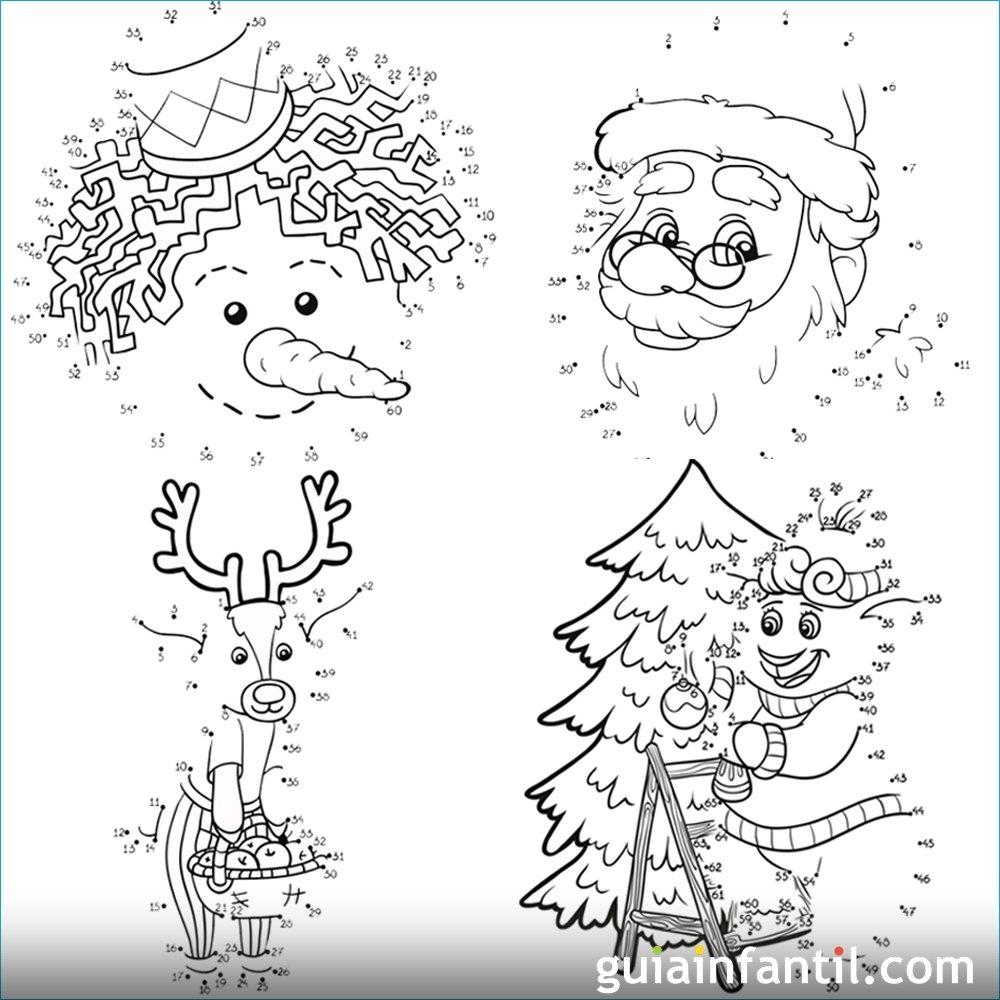 6 dibujos navideños para imprimir y unir puntos con números