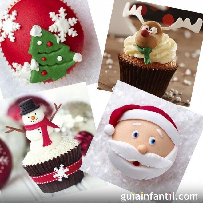 12 ideas de decoración para cupcakes de Navidad