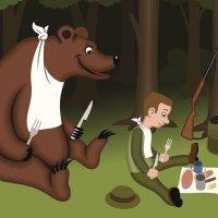 Los dos amigos y el oso. Cuentos con rima