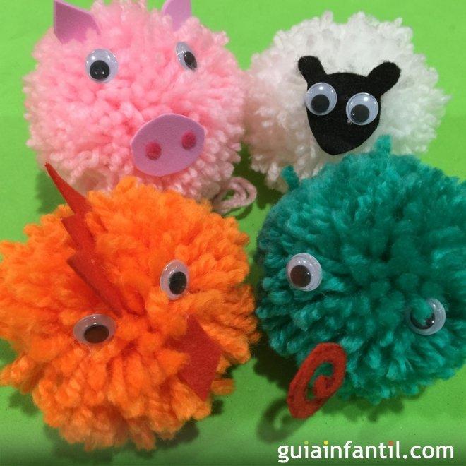 Pompones de animales manualidades con lana - Manualidades en lana ...