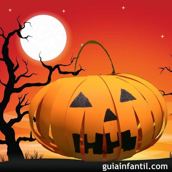 Calabaza linterna para halloween manualidades con cartulina for Como decorar una calabaza original