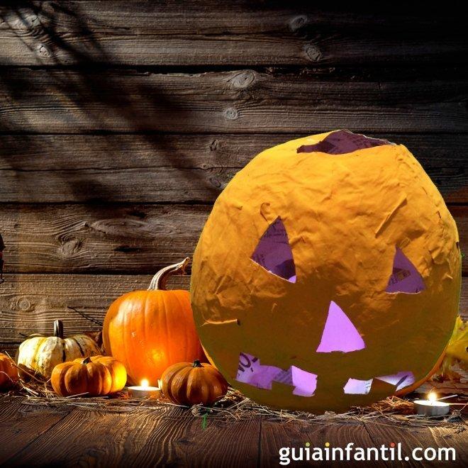 Calabaza De Papel Mache Manualidades De Halloween - Calabaza-de-papel