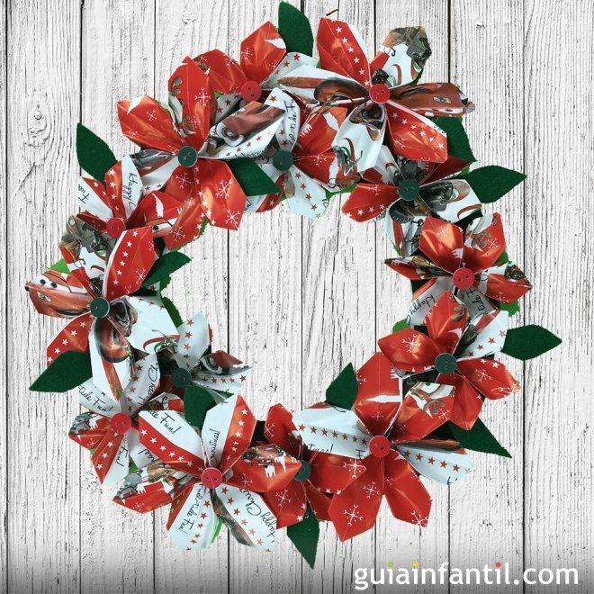 Corona de navidad con papel manualidades de origami - Manualidades navidad papel ...