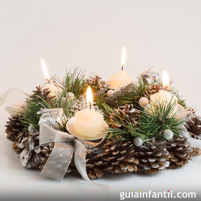 Corona de navidad con pi as manualidades f ciles - Manualidades navidad con pinas ...