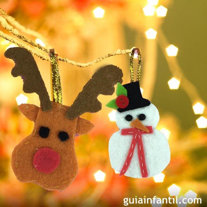 Adornos de fieltro para el rbol de navidad manualidades f ciles - Manualidades para navidades faciles ...