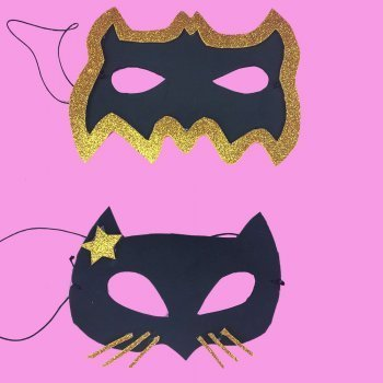 Antifaces de Batman y Catwoman para disfraces infantiles