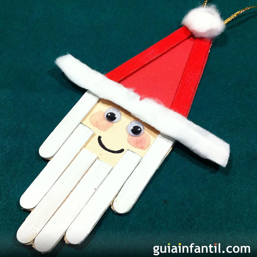 Papa Noel Manualidad Con Palos De Helado - Manualidades-navideas-papa-noel