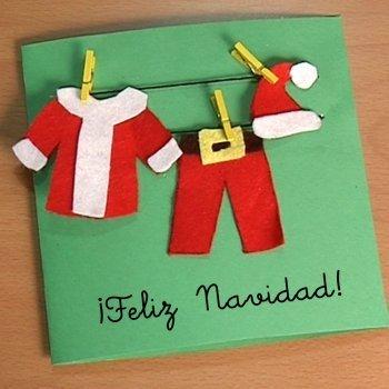 Postal con ropa de Papá Noel