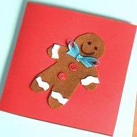 Postal de galleta de jengibre para Navidad. Manualidades con fieltro