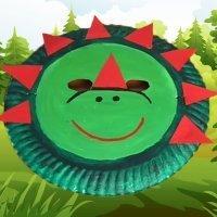 Máscara de dinosaurio con plato de papel. Manualidades de Carnaval