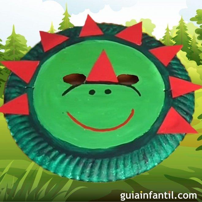 Mascara De Dinosaurio Con Plato De Papel Manualidades De Carnaval