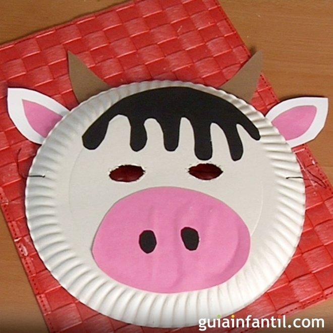 Máscara De Vaca Con Plato De Papel Manualidades De Carnaval