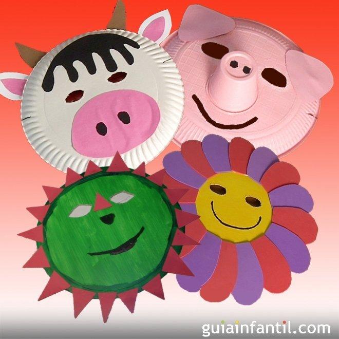 M scaras de carnaval con platos de papel manualidades para ni os - Mascaras para carnaval manualidades ...