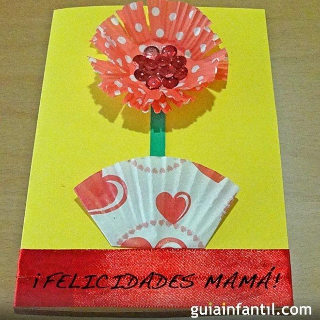 Tarjeta De Flor Con Moldes De Magdalenas Manualidad Del Dia De La Madre