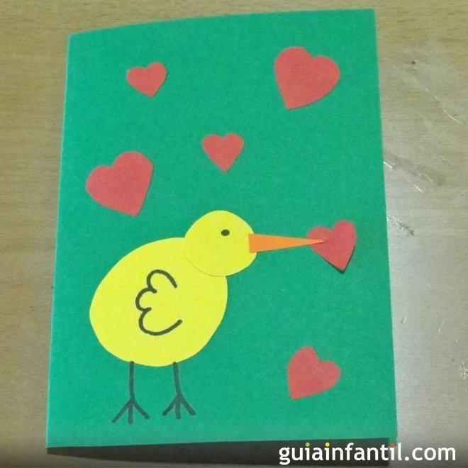 Tarjeta De Pollito Con Corazones Manualidades Del Día De La Madre