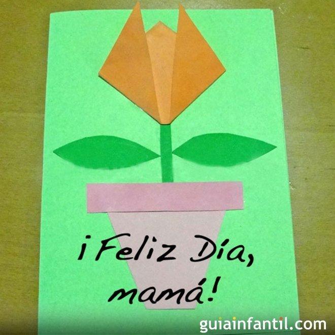 Tarjeta De Tulipan Manualidades Del Dia De La Madre
