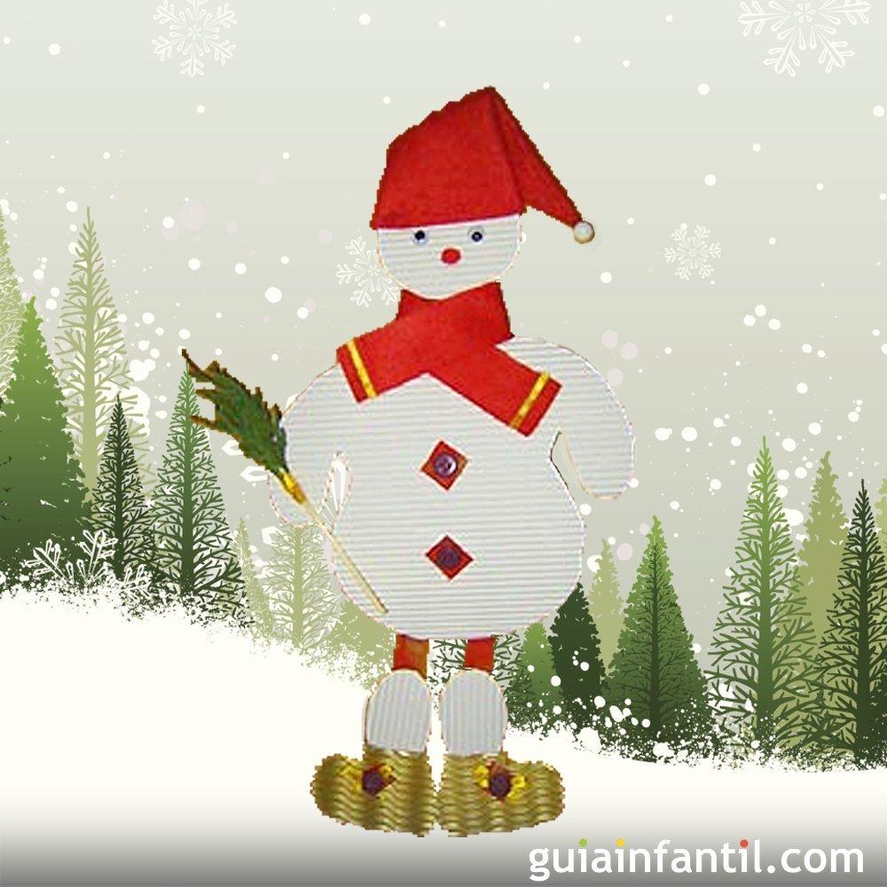 Muñeco de nieve de cartón para decorar en Navidad