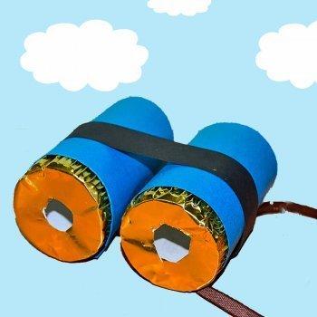 Prismáticos con rulos de papel higiénico
