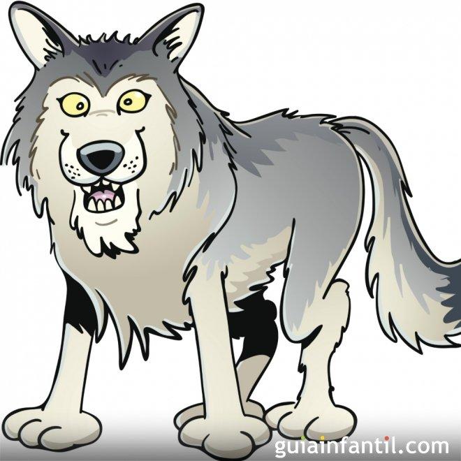 El lobo y la grulla. Fábula de Esopo para niños