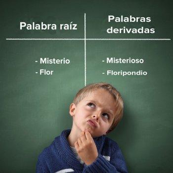 Juego para enseñar a los niños palabras derivadas