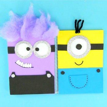 Cuaderno decorado con los Minions. Manualidades para la vuelta al colegio