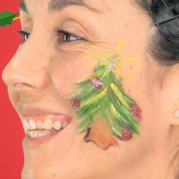 Maquillaje de árbol de Navidad. Disfraces para niños