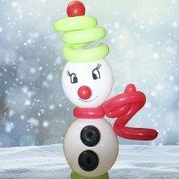 Muñeco de nieve con globos. Manualidades de Navidad