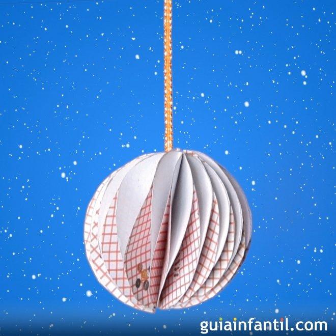 Bola de Navidad de origami Manualidades con papel