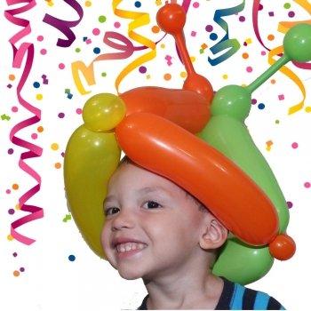 Gorro de arlequín con globos para Carnaval