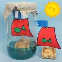 Barco con corchos. Manualidades fáciles y divertidas para niños
