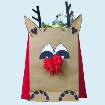 Bolsas de regalo para Navidad. Manualidades sencillas para niños