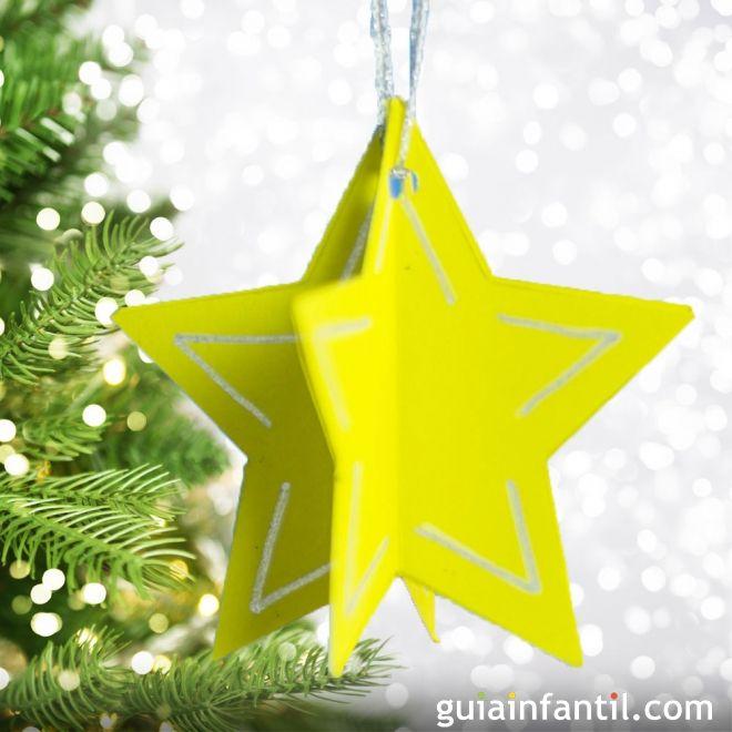 Estrellas de cartulina para decorar el rbol de navidad - Manualidades para decorar el arbol de navidad ...