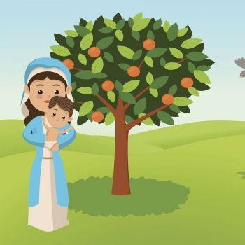 El niño Jesús y el naranjal