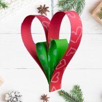 Adorno de corazón para el árbol de Navidad. Manualidad infantil