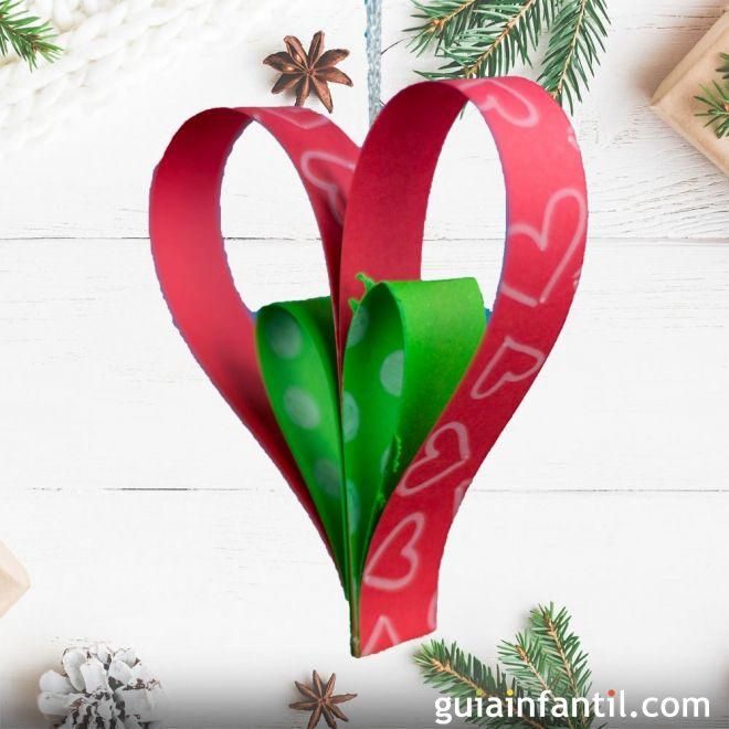 Adorno de corazn para el rbol de Navidad Manualidad infantil