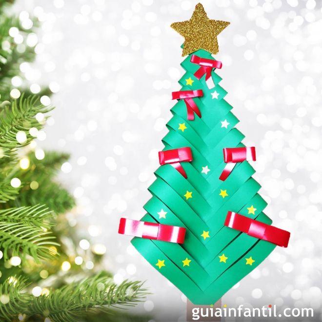 Rbol de navidad con cartulina manualidad infantil con for Manualidades navidenas con cartulina