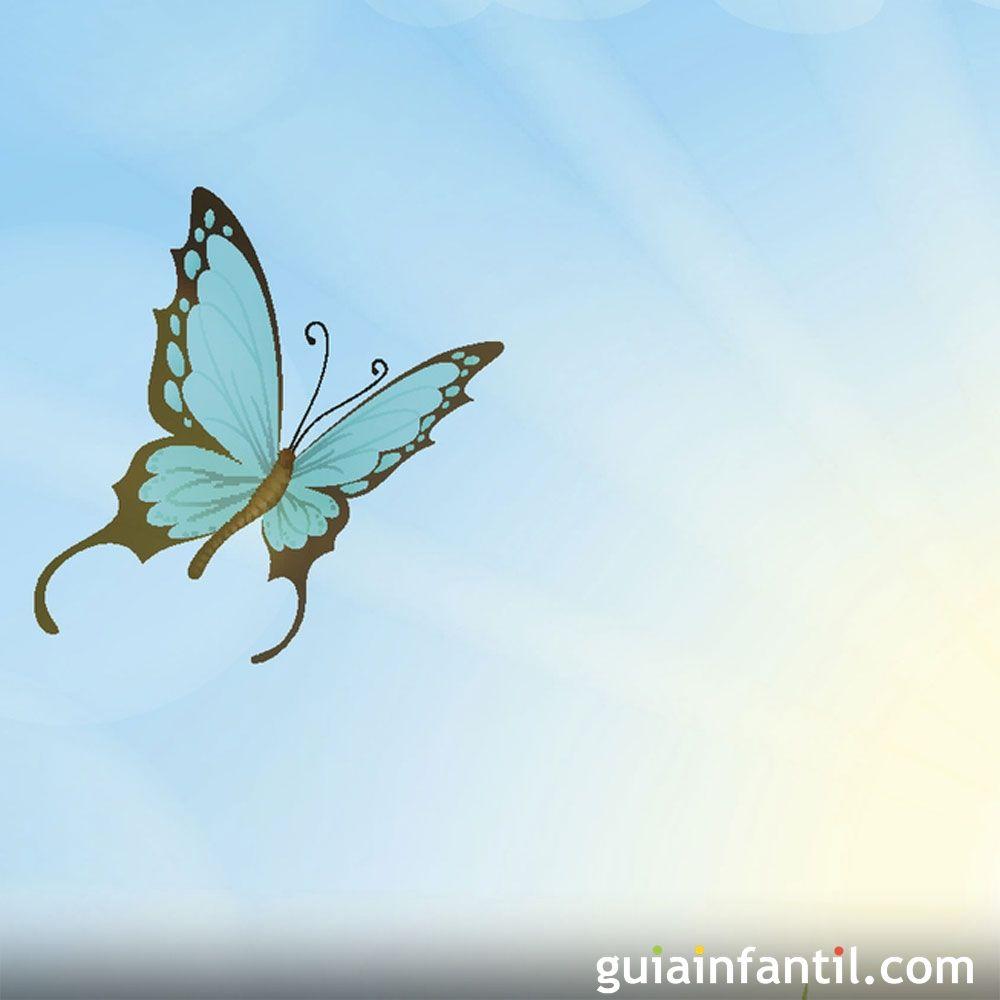 La mariposa voló. Poema corto sobre el cielo para niños