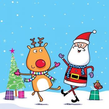Villancicos populares para niños bailados por Papá Noel