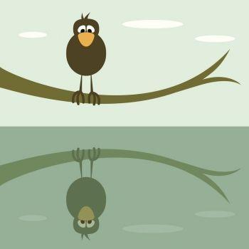 El reflejo del pájaro