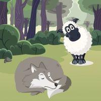 El lobo herido y la oveja. Fábula para niños sobre las apariencias