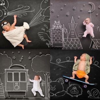 Fotos increíbles de bebés en la pizarra