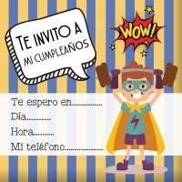 Invitaciones de cumpleaños con superhéroes para imprimir