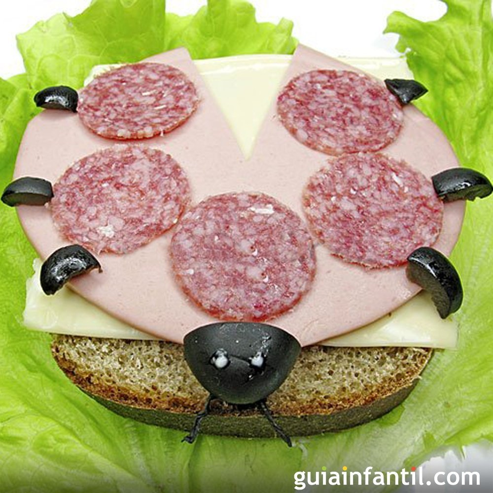 Sándwiches divertidos para niños con jamón y queso