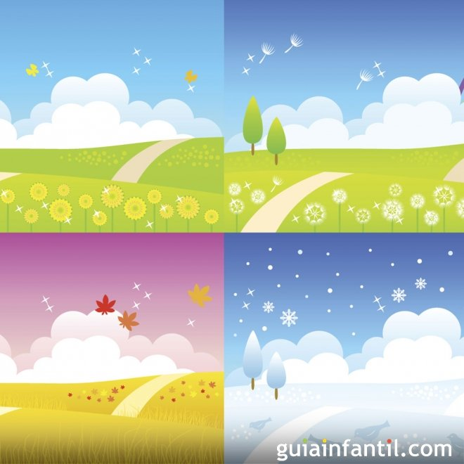 Dibujos para colorear del tiempo y las estaciones