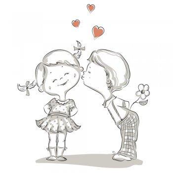Dibujos de niños para colorear y felicitar con amor