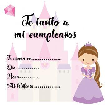 Invitaciones de cumpleaños con princesas para imprimir