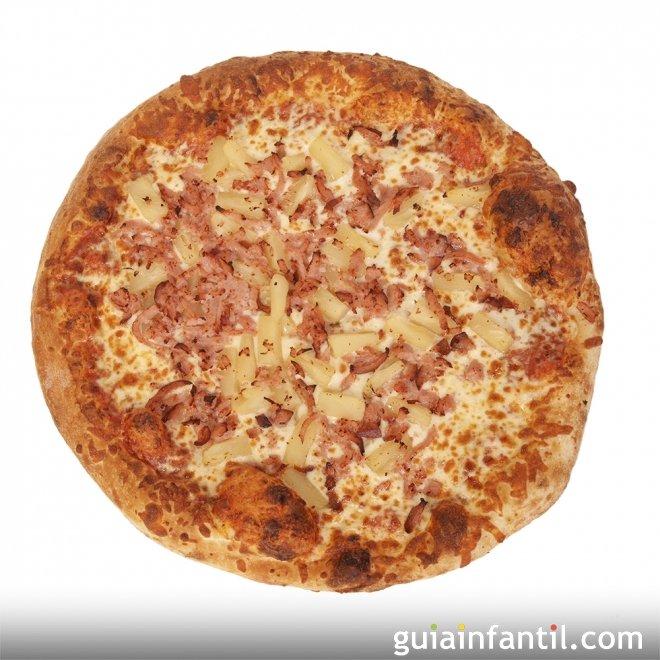 Pizza hawaiana. Receta para niños