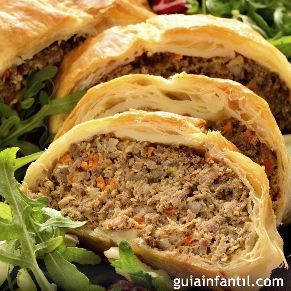Receta de pastel de hojaldre relleno de carne y verduras - Como rellenar un redondo de ternera ...