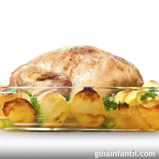 Pollo asado al horno. Recetas tradicionales para niños